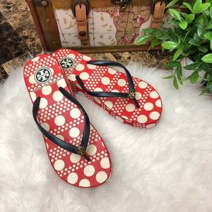 TORY BURCH Thandie Wedge Flip Flops Sandals